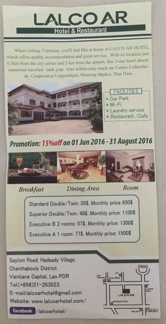 Best Hotel Vientiane Laos Lalco AR Brochure