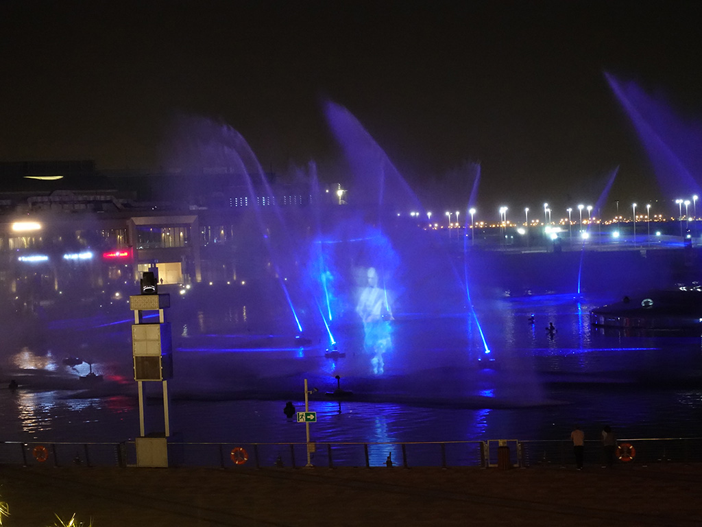 Best Hotel in Dubai Intercontinental Dubai Festival City Review Image Laser Light Water Fire Show Sony RX100 V