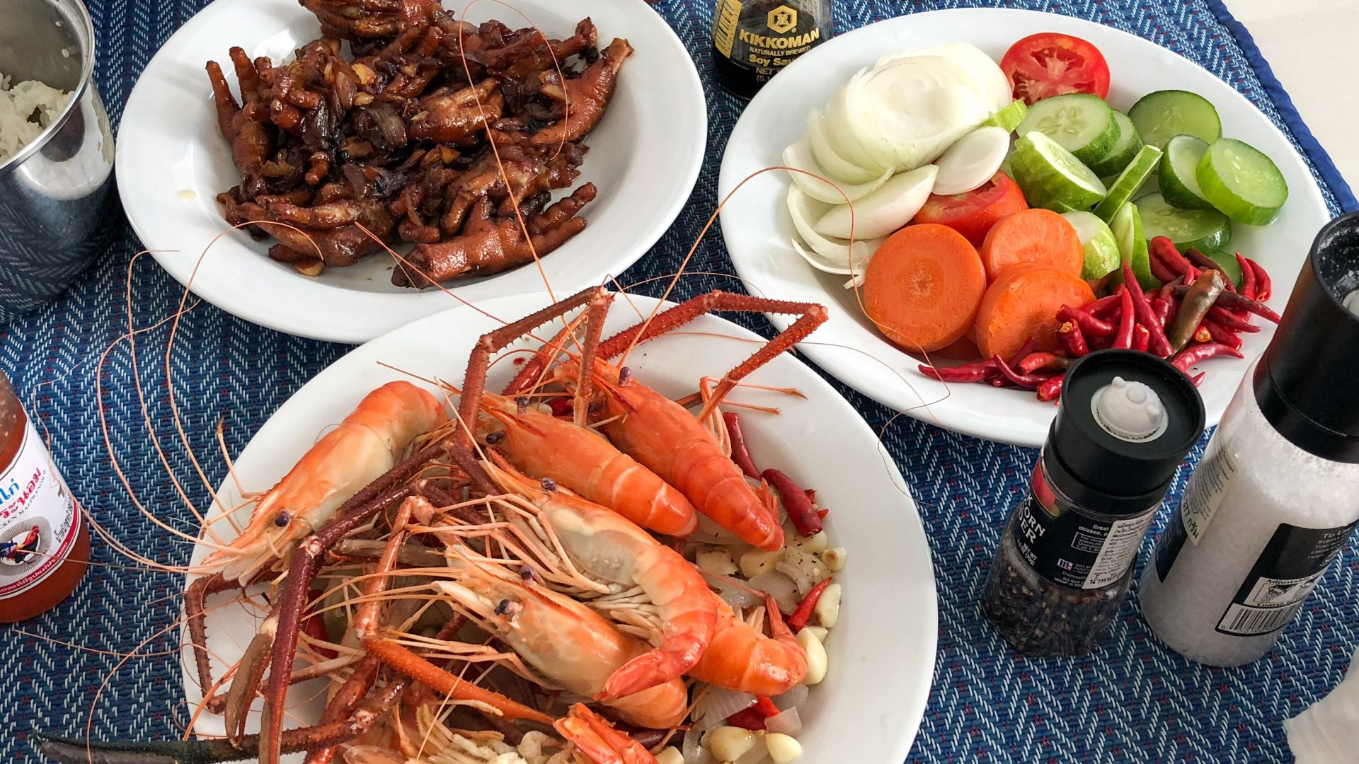 Chicken Feet Stir Fry and Shrimp Boil