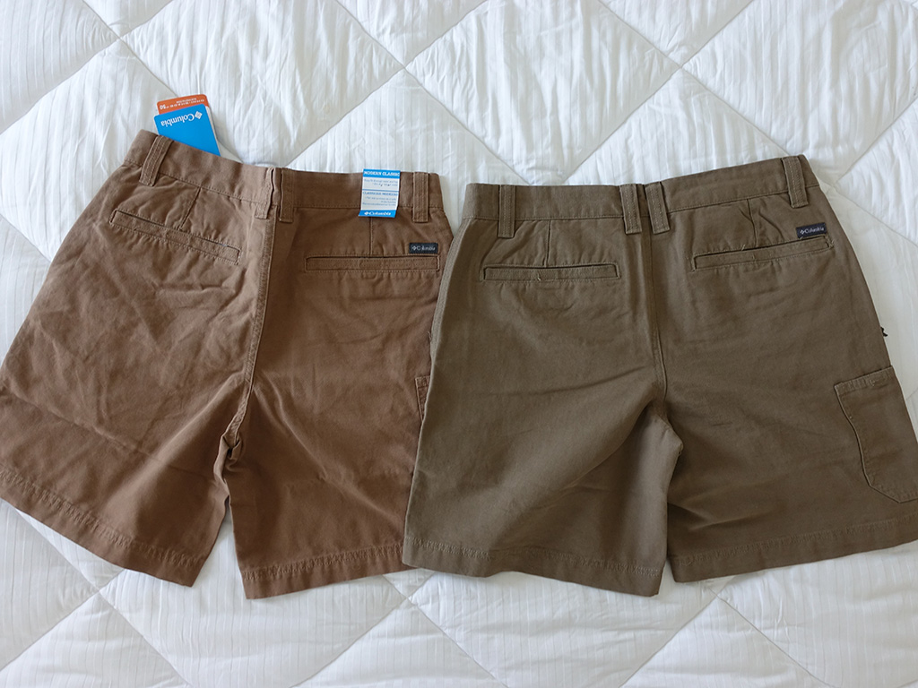 Columbia Roc II Shorts Delta Flax Color Comparison 8 Inch Back View Best Travel Clothing