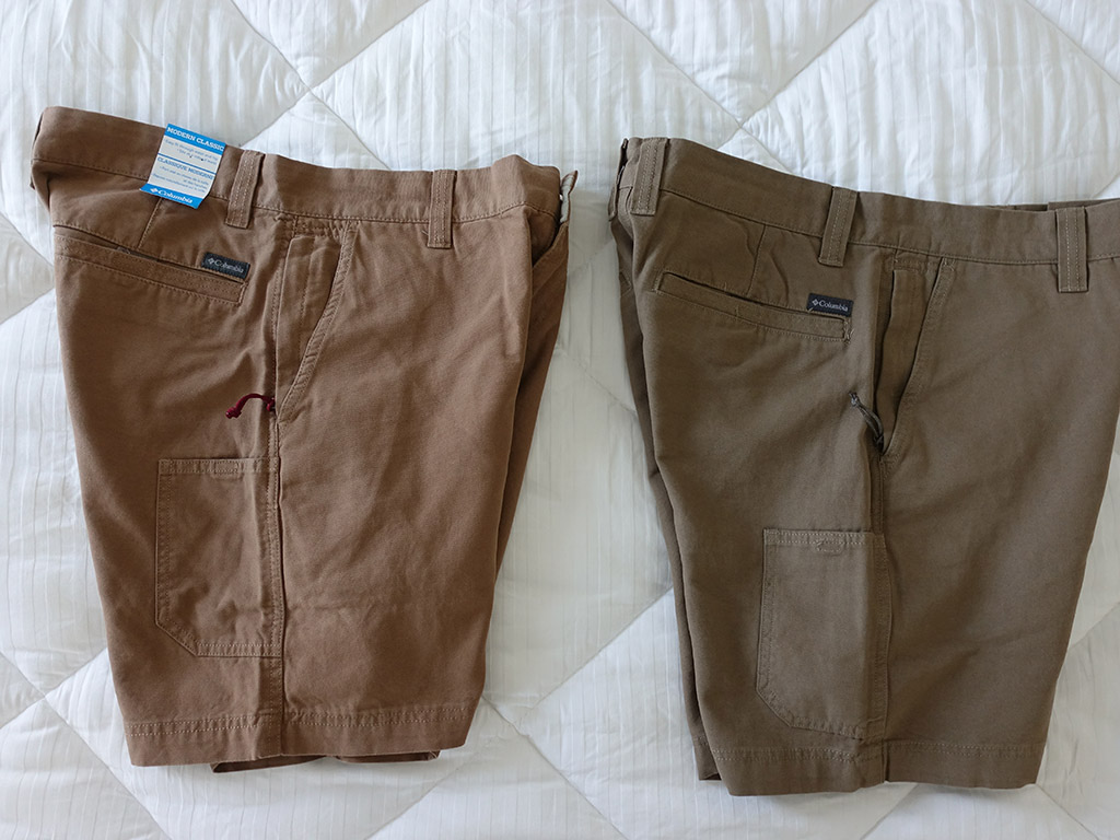Columbia Roc II Shorts Delta Flax Color Comparison 8 Inch Side View Best Travel Clothing