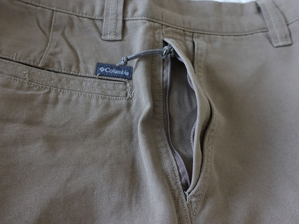 Columbia Roc II Shorts Flax 8 Inch View of Security Zipper Best Travel Clothing