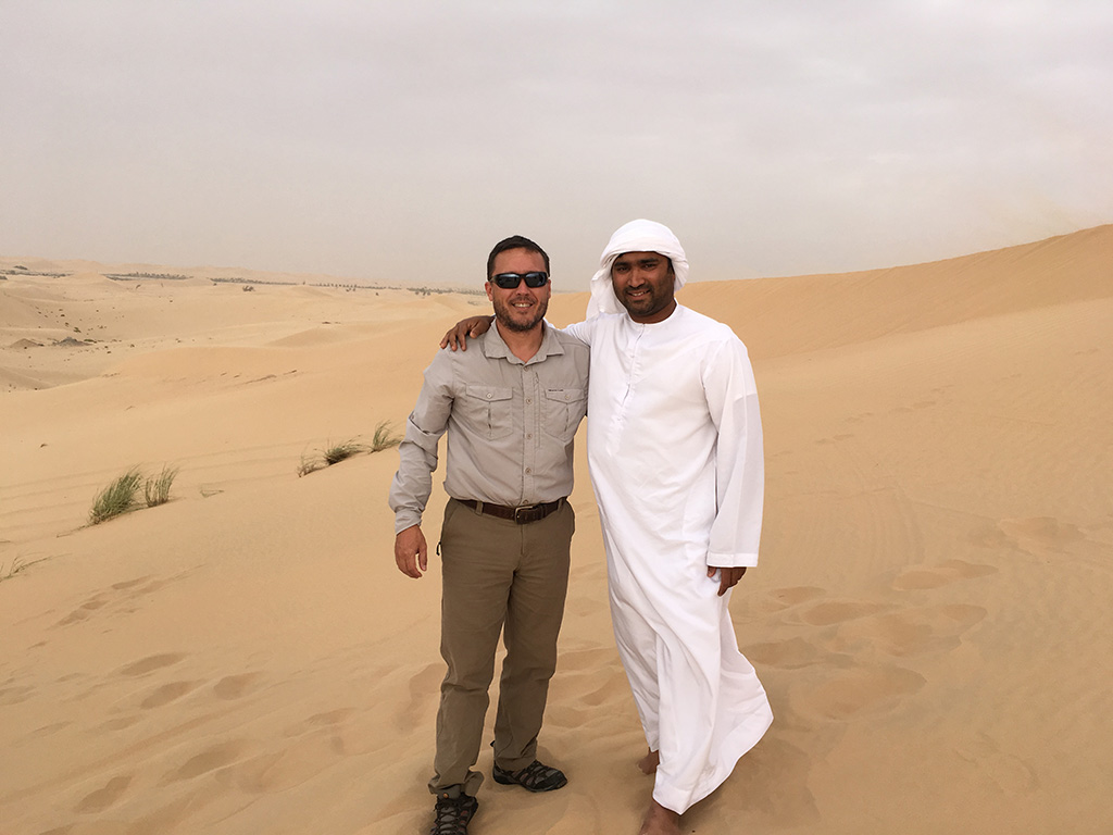 Desert Safari Tour Abu Dhabi Dubai UAE Photo With Our Driver Hussain