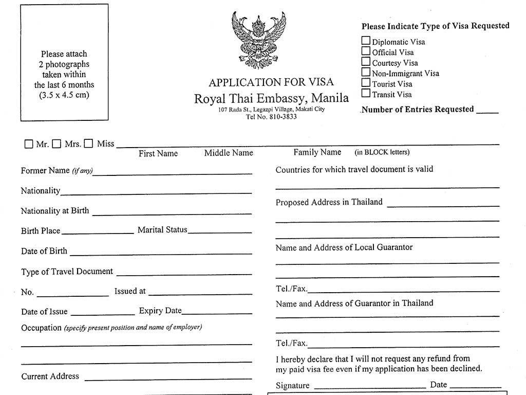 How to Get a Thailand Tourist Visa in Manila - Required Documents