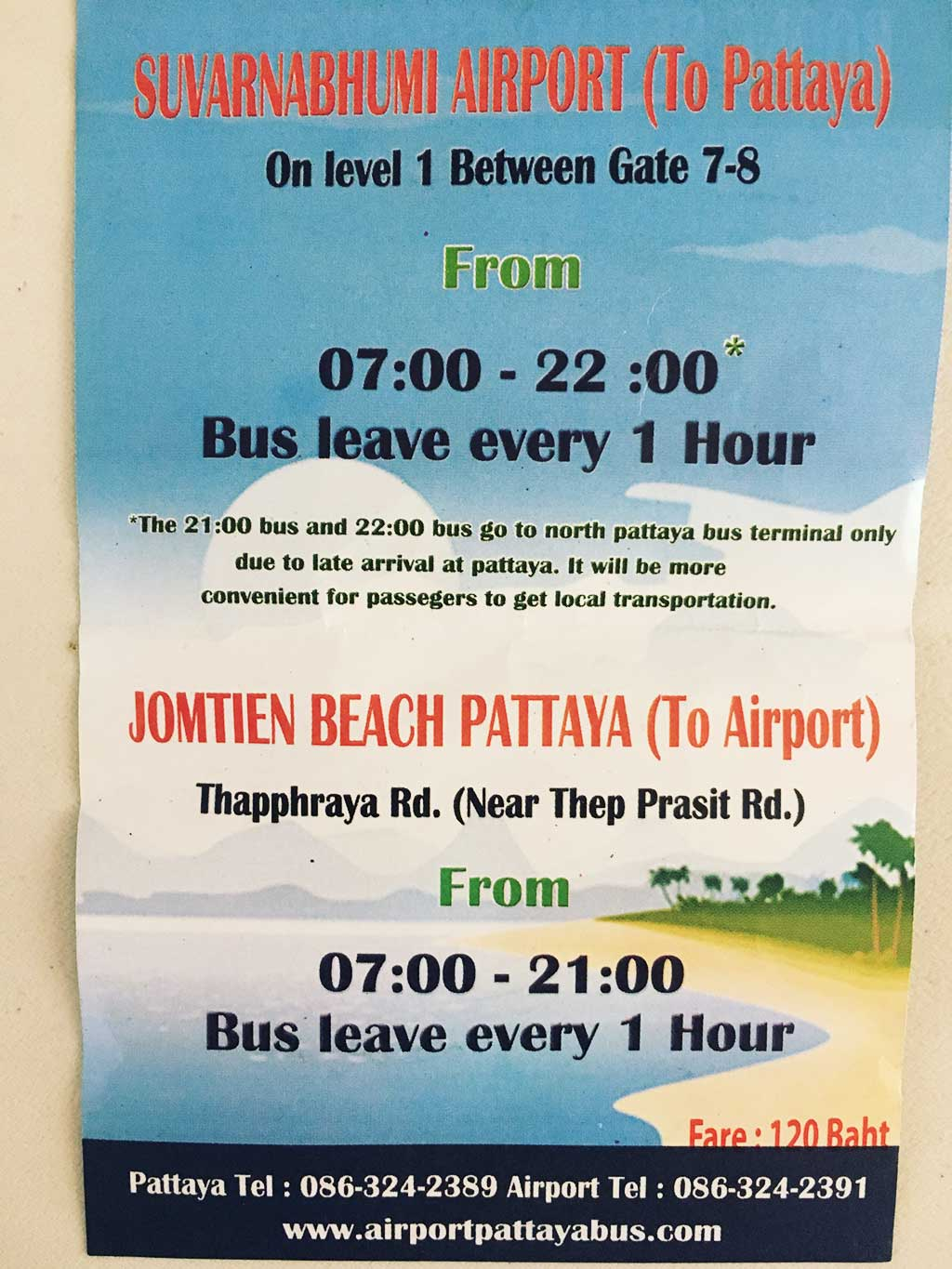 How to Get to Pattaya from Suvarnabhumi Airport for 120 Baht - Air-Conditioned-Bus - Schedule - Thailand