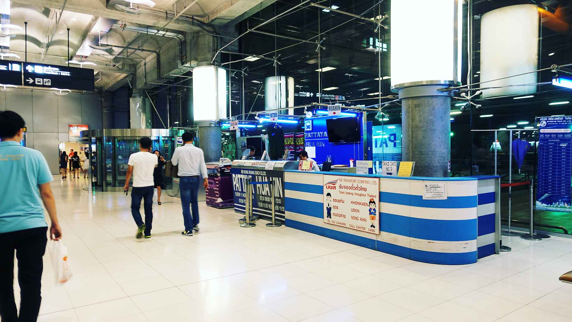 How to Get to Pattaya from Suvarnabhumi Airport for 120 Baht - Buy a Bus Ticket at the Kiosk by Door 8 on Level 1 - Thailand