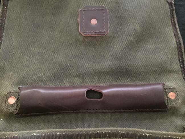 Indiana Gear Bag Saddleback Leather Mountainback Review - Inside Flap Pen Holder