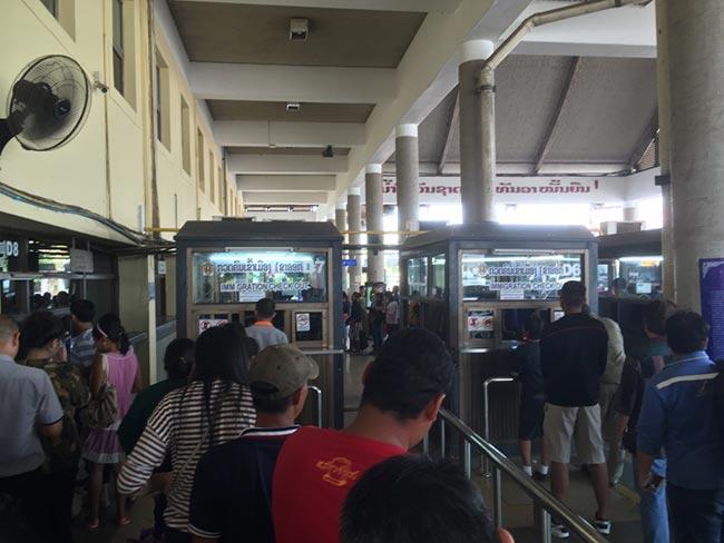Laos Friendship Bridge Immigration Departure to Nong Khai Thailand