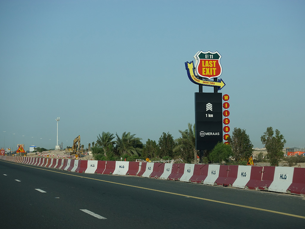 Last Exit Street Food Truck Park Dubai Abu Dhabi E11 Sign