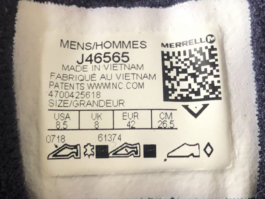 Merrell MOAB 2 Gore-Tex Navy Marine Interior Label