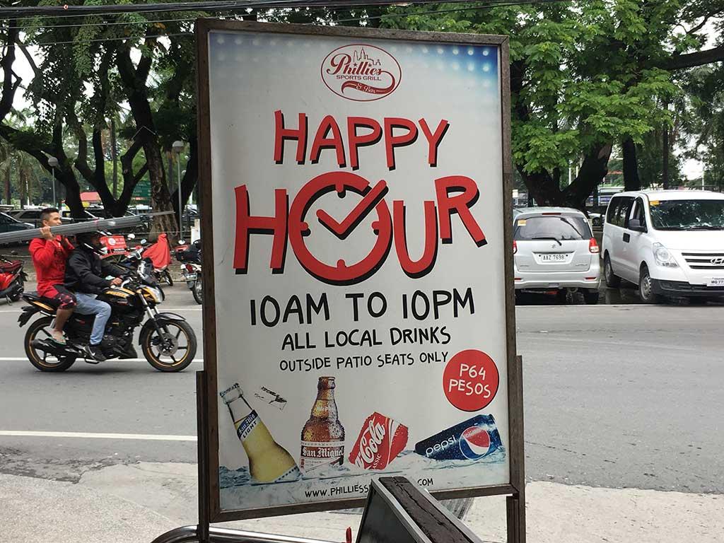Phillies Sports Grill & Bar - Angeles City, Philippines - Happy Hour Prices