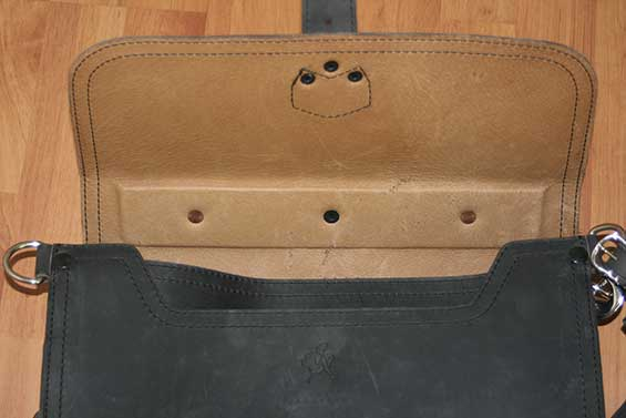 Saddleback Leather Carbon Black Thin Briefcase Inside View of Pigskin