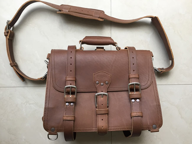 Saddleback Leather Classic Briefcase - Large - Tobacco - The Most Interesting Travel Bag - Front View of Bag with Flap Closed