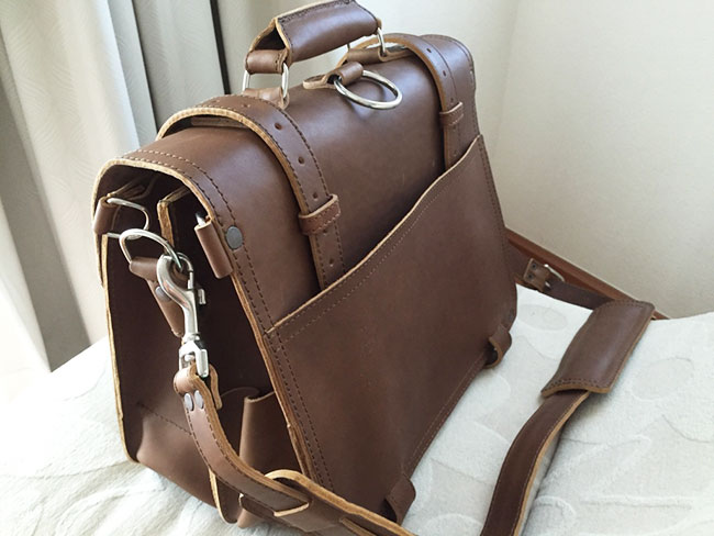 Saddleback Leather Classic Briefcase - Large - Tobacco - The Most Interesting Travel Bag - Back and Side View