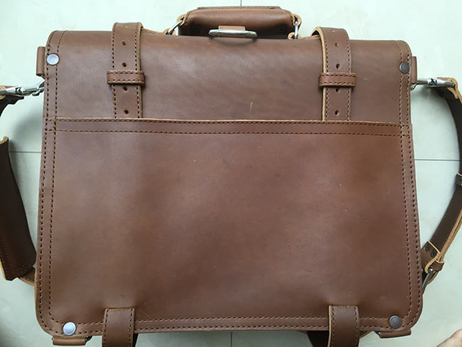 Saddleback Leather Classic Briefcase - Large - Tobacco - The Most Interesting Travel Bag - View of Back - Unboxing