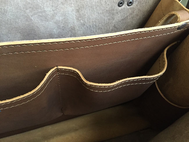Saddleback Leather Classic Briefcase - Large - Tobacco - The Most Interesting Travel Bag - View of Inside Pockets