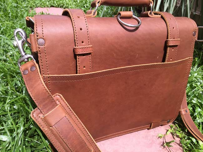 Saddleback Leather Classic Briefcase - Large - Tobacco - The Most Interesting Travel Bag - View of Back in Sunlight
