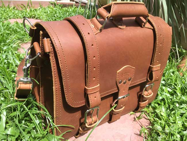 Saddleback Leather Classic Briefcase - Large - Tobacco - The Most Interesting Travel Bag - View in Sunlight