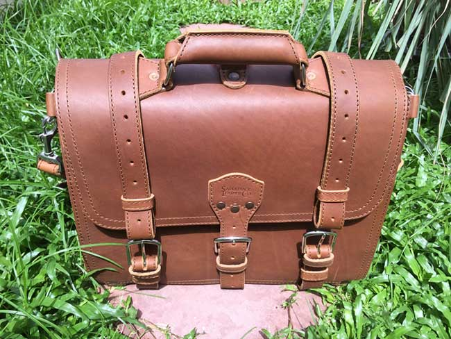 Saddleback Leather Classic Briefcase - Large - Tobacco - The Most Interesting Travel Bag - View in Sunlight Outside