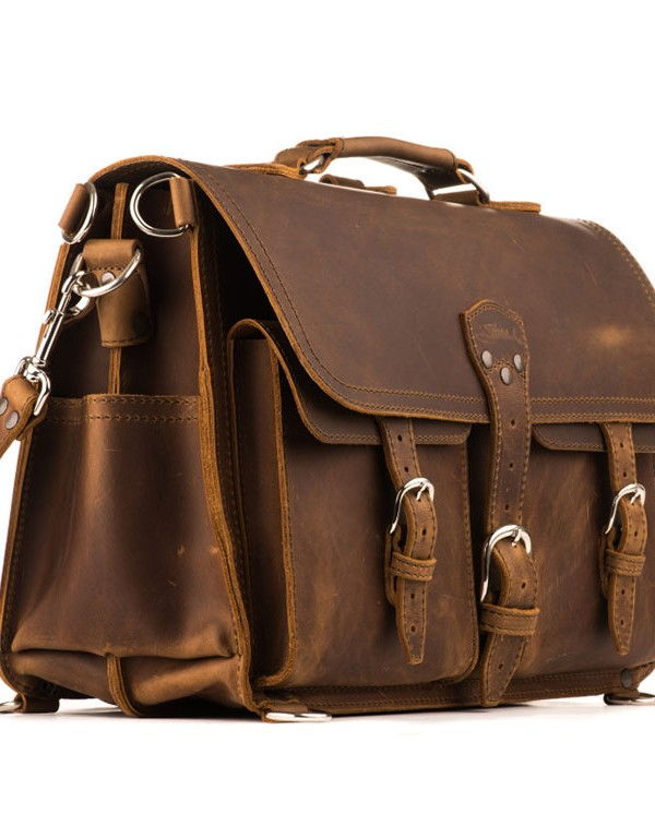 Saddleback Leather Front Pocket Briefcase - Tobacco Brown - Side View