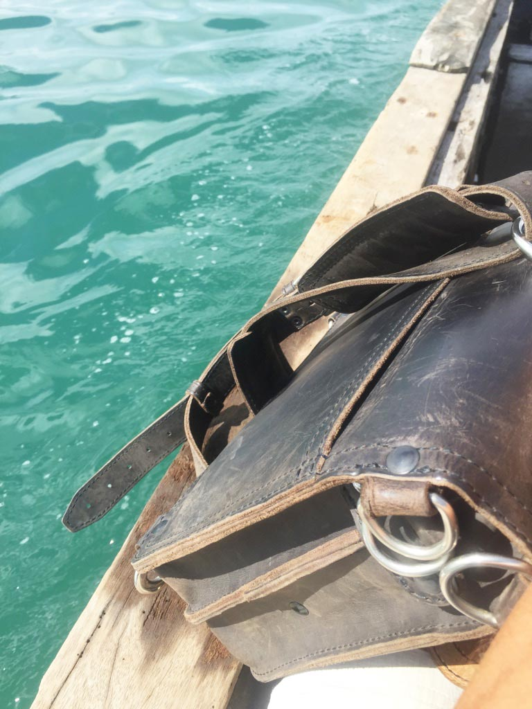 Saddleback Leather Thin Briefcase Travel Photos - On the Pump Boat in the Philippines