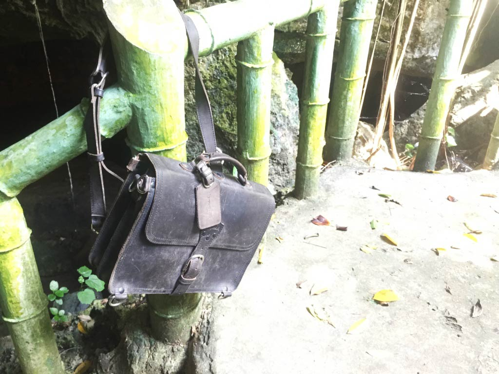 Saddleback Leather Thin Briefcase Travel Photos - Cave Exploring in the Philippines