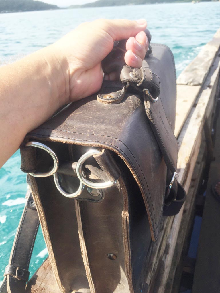 Saddleback Leather Thin Briefcase Travel Photos - Pump Boat - Philippines