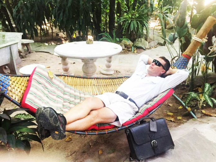 Saddleback Leather Thin Briefcase Travel Photos - Relaxing in a Hammock in Thailand
