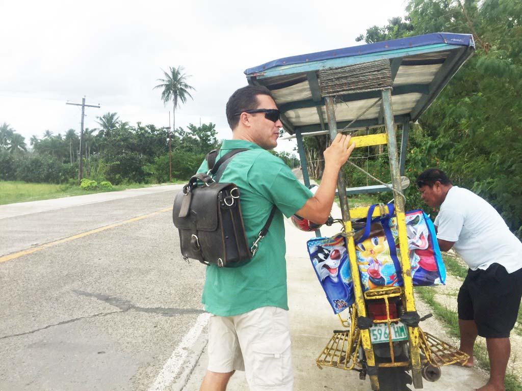 Saddleback Leather Thin Briefcase Travel Photos - Riding on the Motorbike Taxi in the Philippines