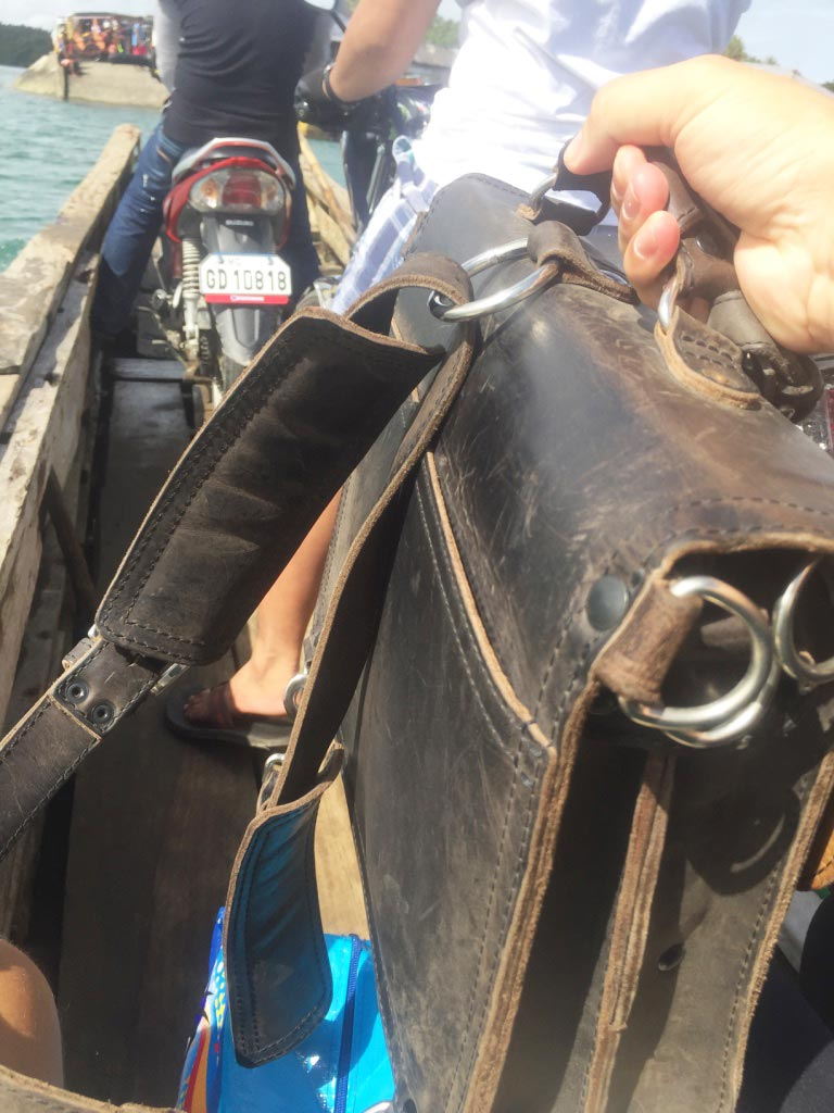 Saddleback Leather Thin Briefcase Travel Photos - Riding on the Pump Boat in the Philippines