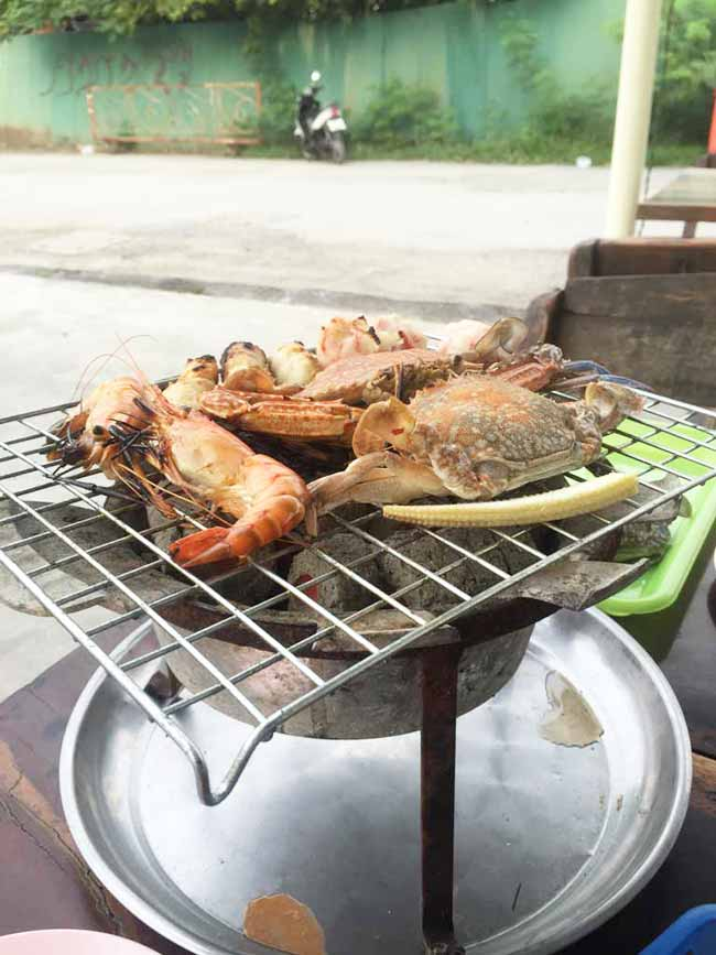 Seafood on the Grill Near Suvarnabhumi Airport Bangkok Thailand