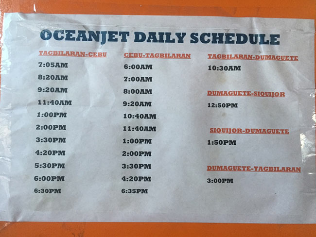 Tagbilaran to Cebu Oceanjet Ferry Schedule & Times - Philippines - Bohol - Dumaguete