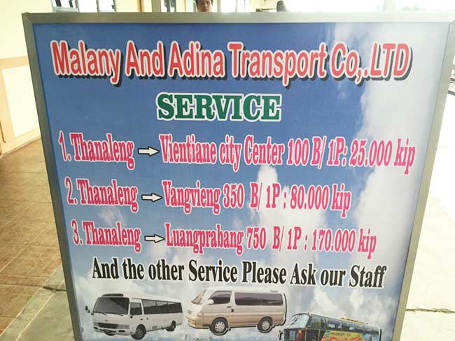 Thanaleng Train Station Van Service to Vientiane Laos Prices