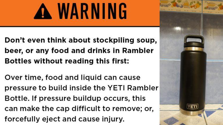 YETI Rambler Bottle Lid Stuck Pressure Buildup Safety Warning